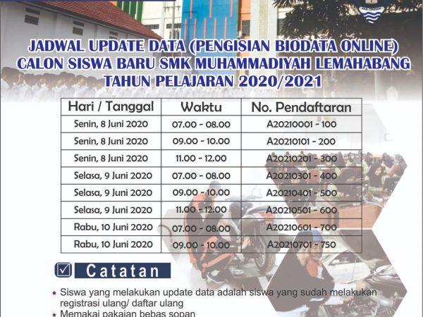 Jadwal Update Data Calon Siswa Baru SMK Muhammadiyah Lemahabang Tahun Pelajaran 2020/2021